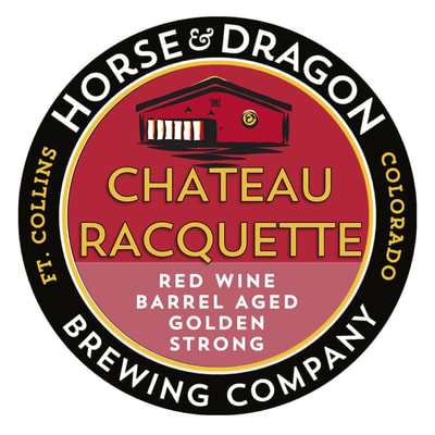 Chateau Racquette Red wine Barrel Aged Golden Strong Ale logo.