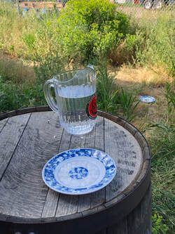 Pitcher of water and plates of water out for the birds.
