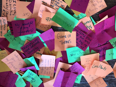 photo of handwritten notes of what people are thankful for