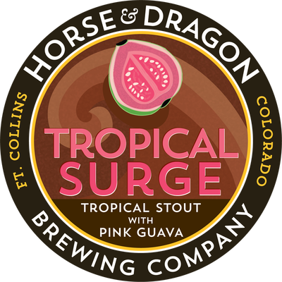 Tropical Surge Tropical Stout with Pink Guava logo.